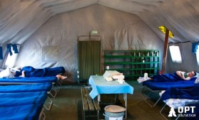 Военные палатки и полевой медицинский пункт от НПФ ОРТ на полигоне Ашулук