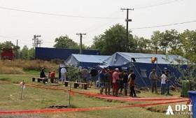 Палатки МЧС «Памир-30» в лагере для беженцев в Сербии
