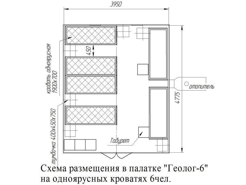 Схема размещения на кроватях в палатке Геолог 6