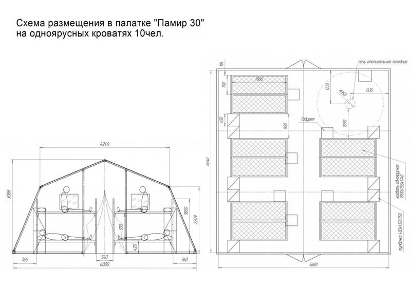 Схема размещения в зимней палатке Памир-30